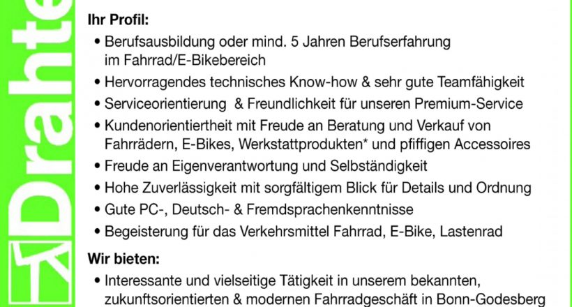 Fahrradenthusiast? We're hiring!